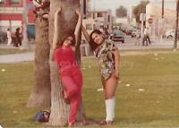 Local Girls FOUND PHOTO Color 70's PARK POSERS Original Snapshot VINTAGE 05 15