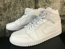 61a7d96377d8f5 Nike Air Jordan 1 Retro White Mid All White 554724-129 NEW BEST PRICE SHIPS