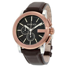 Gucci G Chrono XL Black Dial Brown Leather Mens Watch YA101202