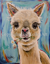 "Alpaca Art  Print from original canvas Alpaca painting 8x10"" signed by artist"