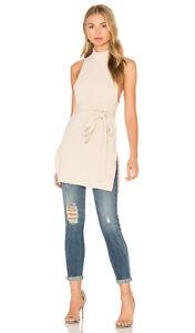 Lavish Alice Rib Knit Open Back Wrap Tie Tunic Top in Camel 6 12