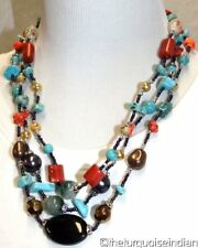 New Colorful Turquoise Semi-Precious stones 3 Strand Necklace Earrings
