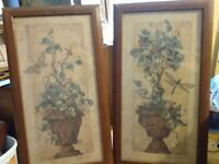 HOMCO Home Interior Ivy Topiaries Ivy Barbara Mock Wood Frame Set of 2