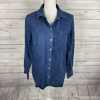 Soft Surroundings Taliana Tencel Shirt Size Small Blue Long Sleeve Button Down