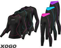 Ladies Womens Base Layer Long Sleeve Compression Armour Top & Tights Gym Sports.