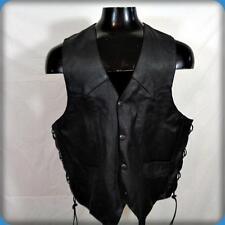 GENUINE LEATHER Vintage WESTERN MOTORCYCLE Leather VEST Mens XL 46 Black Laced
