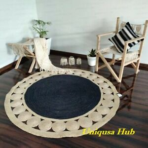 Rug 100% Natural Jute Braided Style Reversible Round Rug Modern Area Rugs Carpet