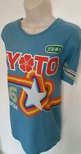 Ladies Japanese vintage style t shirt blue printed retro rainbow 86 worn washed