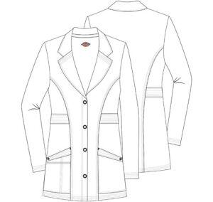 "NEW BLAK& WHITE Dickies Scrubs Advance 28"" Notched Lapel Lab Coat DK400"