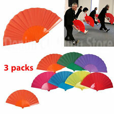 3 pcs Summer Portable Plastic Hand Fan Fold Chinese Dance Wedding Decor Party