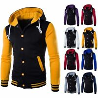 Classic Men Varsity Jacket Baseball College University Coat Hoodie Hooded Casual
