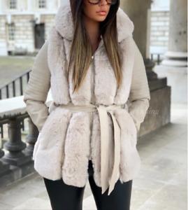 Women Ladies Faux Fur PU Leather Warm Hooded Winter Jacket Coat Casual New UK