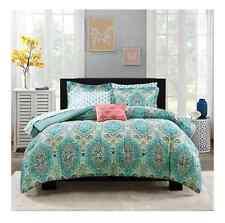 Queen Size Teal Blue Color Paisley Medallion 8pc Comforter Feminine Bedding Set