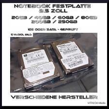 2.5 Zoll NOTEBOOK FESTPLATTE - 40GB / 80Gb / 200GB / 250GB / 500GB  - IDE / SATA