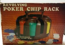 Poker Chip Caddy Plastic Revolving Carousel W/2 Deck Card Holder Cards Included!