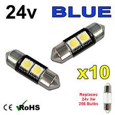 10x Azul 24v 31mm lucecitas interiores luz de la matrícula 256 2 SMD sv7-8