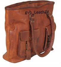 Vintage Look Women's Genuine Goat Waxed Leather Tote Shopping Handmade Bag