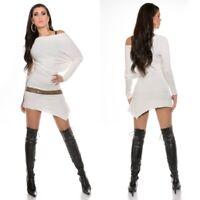 Batwing Mini Dress Asymmetric Boho Party KouCla White One Size