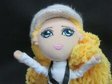 YELLOW BLONDE HAIR POSEABLE STYLE DIVA WHITE PANTS CAP PLUSH GIRL DOLL