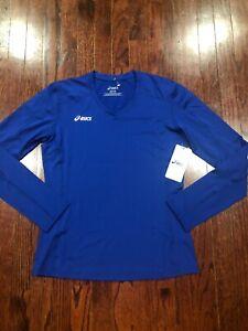 NWT$46 Asics Women's Performance Long Sleeve V-Neck Shirt Blue Size M BT1730