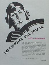 PUBLICITE AUTOMOBILE CHRYSLER VITESSE SECURITE DE 1927 FRENCH AD PUB RARE CAR