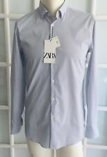 NWT ZARA MEN White Blue TRAVELLER SHIRT Slim Fit Long Sleeve Size M O2297