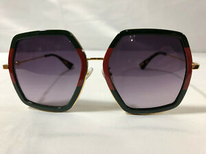 NEW Authentic GUCCI SUNGLASSES GG0106S 001 GREEN FRAMES GRAY LENS Women's