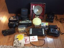 Vintage Camera Lot Polaroid Land Brownie Fuji Kodak Flash Cubes Carrying Cases