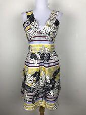 H & M Dress Size 14 Floral Sparkly Mini Open Back V Neck Leaves Black Blue Gray