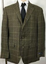 Polo Ralph Lauren Suit Jacket Flax Green Plaid Mens 42 Regular