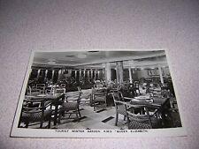 1930s TOURIST WINTER GARDEN on CUNARD RMS QUEEN ELIZABETH SHIP RPPC POSTCARD