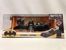 "1989 Batmobile & Batman Figure METALS, 9"" Die Cast  Car, 1:24 Scale , Jada Toys"