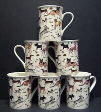 6 A SET OF SIX WALKIES DOGS FINE BONE CHINA MUGS CUPS BEAKERS TO CLEAR
