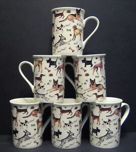6 A SET OF SIX DATA WALKIES DOGS FINE BONE CHINA MUGS CUPS BEAKERS TO CLEAR