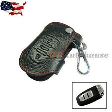 Genuine Leather Remote Smart Key Fob Case Holder Cover Chain For Audi #FO2