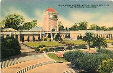 Linen Postcard CA H347 Young Memorial museum Golden Gate Park San Francisco