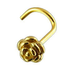 Nose Stud Screw Piercing 18 ct Yellow Gold, Body Jewellery, Rose