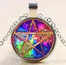 Pentagram Wiccan Cabochon Tibetan silver Glass Chain Pendant Necklace #2215