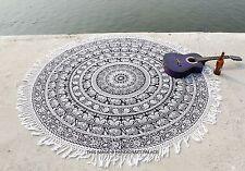 "Elephant Round Mandala Tapestry Wall Hanging Beach Throw Yoga Mat Rug Indian 72"""