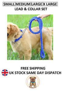 Nylon Braided Traction Rope Leads Collars Set Martingale Chain Collar & Lead Set