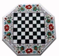 """18"""" Marble Chess Game Table Top Stone Handmade Inlay Pietra dura  Home Decor"""