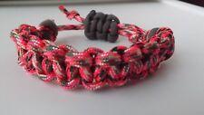 Parachute Cord Macrame Braided Bracelet Handmade Rustic Adjustable Pink Camo