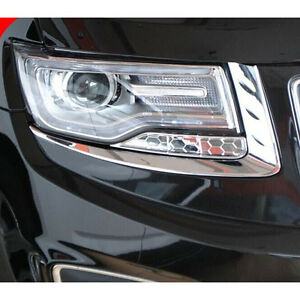 Fit Grand Cherokee 2014 -2016 Front Headlight Lamp Eyebrow Eyelid Cover Trims