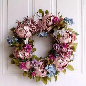Artificial Peony Wreath Christmas Hanging Door Decor Ornament Flower Garland