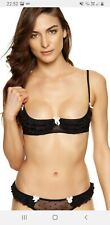 Ann Summers Edie Frilled Quarter Cup Bra Black Size Small 8 - 10   NWT