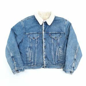 Vintage Levi's Sherpa Lined Denim Jacket Blue L Made in USA