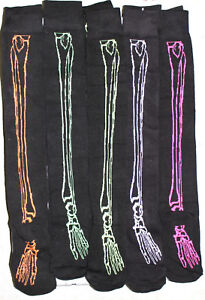 Halloween Skeleton Bone Print Over The Knee Socks Black Neon Colour Size 4-7