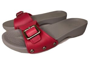 Crocs Sz 7W Sarah Slide Strap Buckle Pink and Gray Sandals Slip On Slides