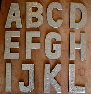 20cm Aluminium A-Z Letters Alphabet Wall Hangings Gift Home Wedding Names Wood