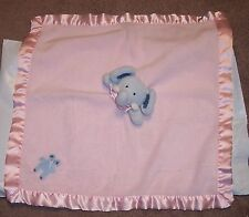 """Blankets & Beyond Blue Elephant Pink Plush Baby Security Blanket Lovey 18"""" Used"""